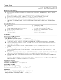 Resume Templates: Surety Underwriting Assistant III