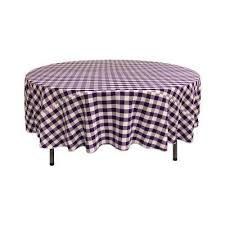 72 in white and purple polyester gingham checd round tablecloth