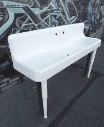 huge 1930s high back double drain board cast iron farm sink in white porcelain includes