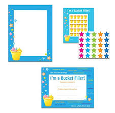 Bucket Filler Classroom Theme Set Student Certificates Border Paper And Incentive Sticker Chart