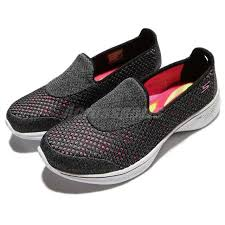 skechers black walking shoes. skechers go walk 4 kindle black pink women walking shoes slip-on 14145b-khp s