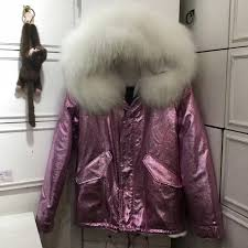 pink fur parka fashion uni winter colorfully faux inner fur winter warm fur jacket for