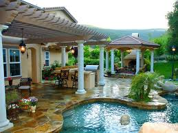 patio with pool. Plain Patio Backyard Getaway I Love Everything Except The Stonework Would Go With A  Stained Throughout Patio With Pool I