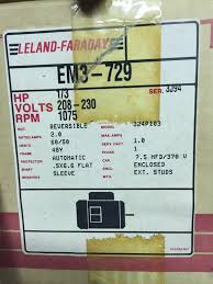 online only b d electric company electric motors etc in lot 61 leland faraday em3 729 1 3 hp