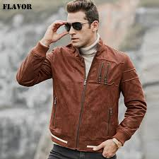 flavor men s real leather jacket men pigskin slim fit leather coat with standing collar rib cuff