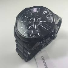 men s black diesel mega chief xl chronograph watch dz4283