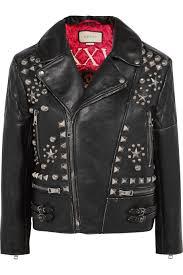 gucci stylish studded black leather biker jacket