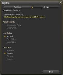 under this tab players can confirm requirements loot rules and age settings for their duty these settings cannot be modified while a duty is