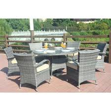 sicily 7 piece wicker outdoor dining set with washed cushion grey wicker