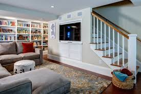 basement remodel photos. Light-Filled Basement Remodel \u2013 Den With Built-In TV And Storage Under Stairs Photos