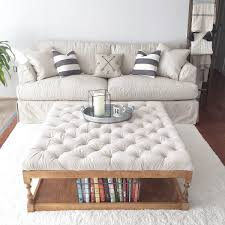 diy living room furniture. Rack Bookshelf Storage Built In Under DIY Tufted Ottoman Coffe Table With White Fabric Cover On Rugs Living Room Ideas Diy Furniture