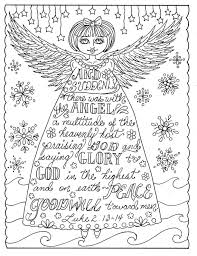 Christmas Angel Christian Coloring Page Adult Coloring Books Etsy