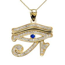 0 02ct blue zirconia eye of horus charm pendant necklace in 14k gold