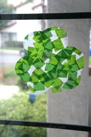 st patricks day craft for kids stained glass tissue paper shamrocks