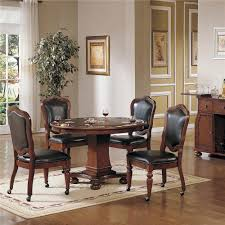 Game Table And Chairs Set Cramco Inc Timber Lane Faran Round Game Table And Caster Chair