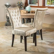 Suede Dining Room Chairs Set Of 2 Dining Room Champagne Velvet Dining Chairs W Tufted