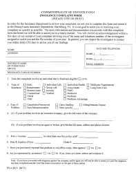 Pennsylvania Insurance Commissioner Complaint