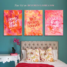 Abstract Watercolor Paintings In Orange Pink With Quotes Beverly Custom Quotes About Painting