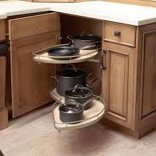 Contemporary Beautifully Curved Shelves That Give Corner Cabinet  Accessibility In Corner Kitchen storage ideas for a