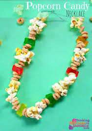 easy popcorn candy necklace edible craft