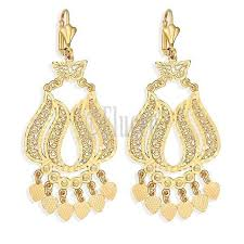 yellow gold color love heart charms dangle chandelier earrings