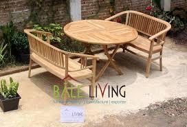 teak garden dining set round table with betawi bench