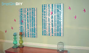 on diy stencil canvas wall art with bird and birch stencil wall art