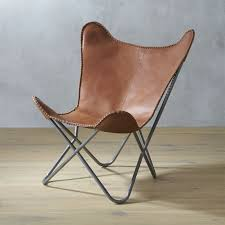 Brown Leather Butterfly Chair with Hide Headrest in accent chairs + Reviews  | CB2