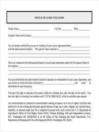 Lease Violation Form Notice Of Violation Form 8 Free Documents In Word Pdf