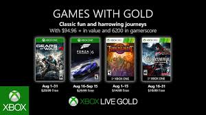 Top Ten Xbox 360 Games Chart Xbox August 2019 Games With Gold