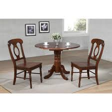 Sunset Trading 3 Piece 42 Inch Round Drop Leaf Dining Table Set