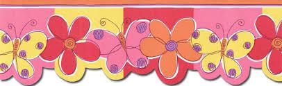 Flower Wall Paper Border Wallpaper Border Butterfly Flower Wallpaper Border Prepasted
