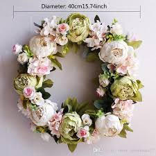 2019 silk peony artificial flowers wreaths door perfect quality artificial garland for wedding decoration home party decor from china whole17