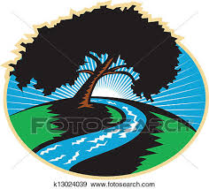 pecan tree clip art. Plain Tree Clip Art  Pecan Tree Winding River Sunrise Retro Fotosearch Search  Clipart Illustration For E