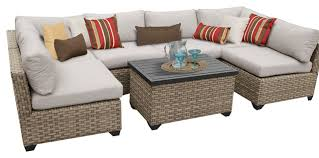 Hampton Outdoor 7 Piece Wicker Patio Set Contemporary Outdoor