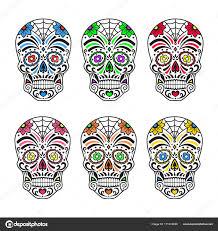 сахарные черепа красочные татуировки мексиканские день мертвых
