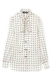 Satin Stamped Polka Dot Pussy Bow Blouse by Giles Moda Operandi