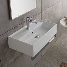 bathroom sink scarabeo 5002 tb rectangular wall mounted ceramic sink with polished chrome