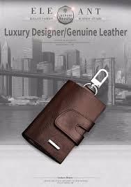 luckyer beauty leather key holder housekeeper key wallet smart key organizer case keychain porte pouch cover