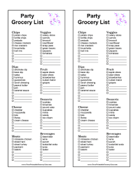 grocery checklist printable party grocery list
