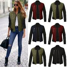 details about retro womens quilted padded biker er jacket coat zip up winter warm outwear