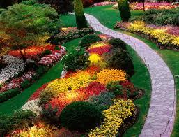 Garden & Landscape:Small Garden Idea With Colorful Flower Garden Landscape  Flower Design