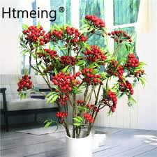 artificial fruits hawthorn berries fake plants stem branches with leaf artificial flowers wedding home party hotel