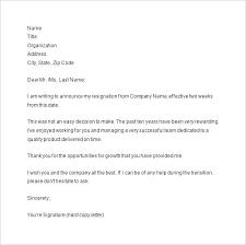 Two Weeks Notice Resignation Letter Sample Template 2 Week