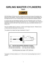 Girling Master Cylinders Earls Performance Products Australia