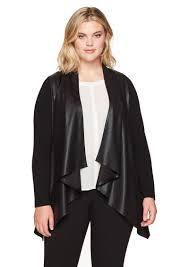 karen kane women s plus size faux leather front knit jacket 2x