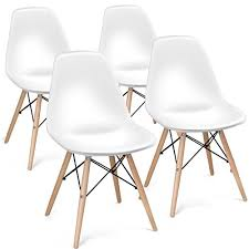 giantex set of 4 mid century modern style dsw dining chair side wood embled legs for kitchen dining bedroom living room white