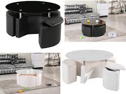 milano chrome glass coffee table with 4 ottoman storage stools black or white