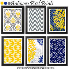 >floral digital print wall art yellow navy grey vintage
