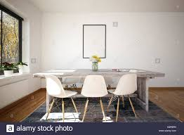 small office conference table. 3D Rendering Of Small Office Conference Table With Six Plastic Chairs And White Wall. Blank Picture Frame On E